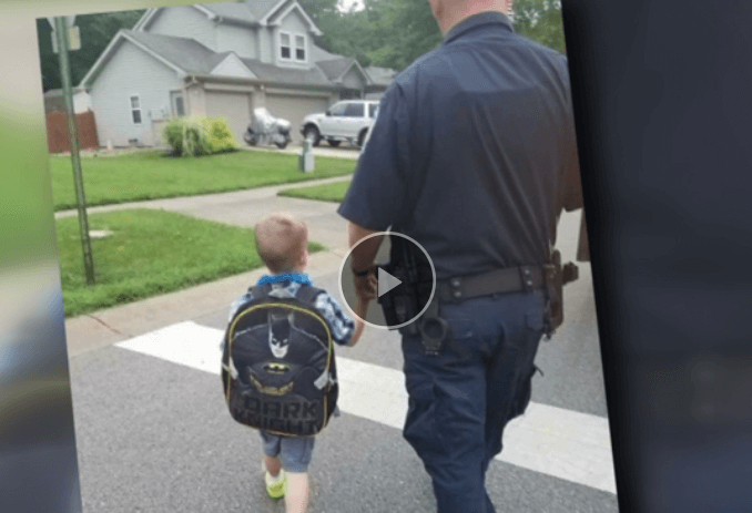 Honoring a fallen officer, by escorting his son to first day of school